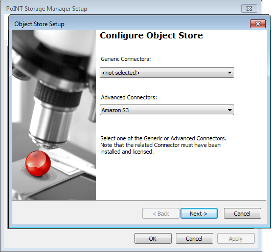 Configuring Object Store - Selecting Amazon S3 Cloud Connector