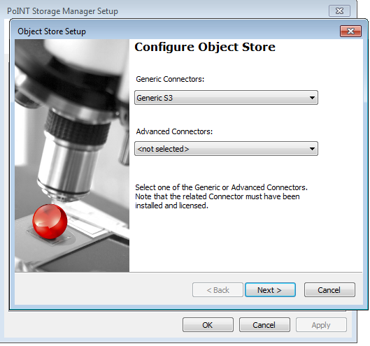 Configuring Object Store - Selecting Generic S3 Cloud Connector