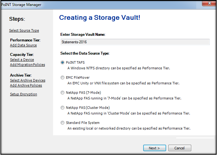Select Data Sources to Archive Files from Windows, EMC Unity, EMC VNX, NetApp FAS, and NAS File System