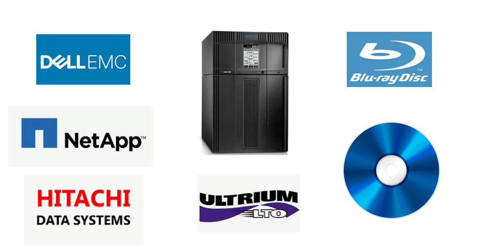 Compatible Data Archive Devices include EMC ECS, NetApp StorageGrid, LTO Tape Libraries, and Blu-ray Optical Libraries