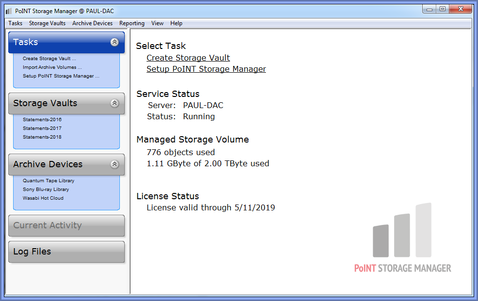 Main Screen for PoINT Storage Manager Configuration and Archive Job Management