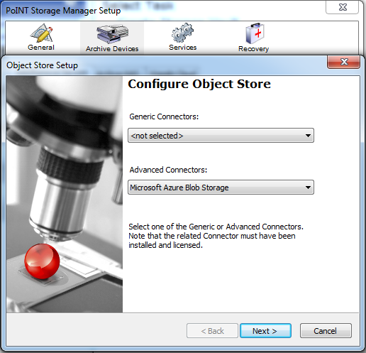 Configuring Object Store - Selecting Microsoft Azure Blob Storage